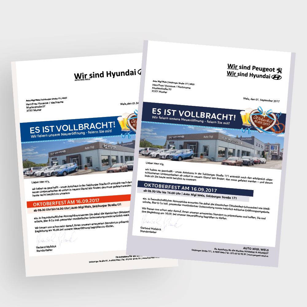 Mailing Auto Nigl Wels – PSA Austria, Wien