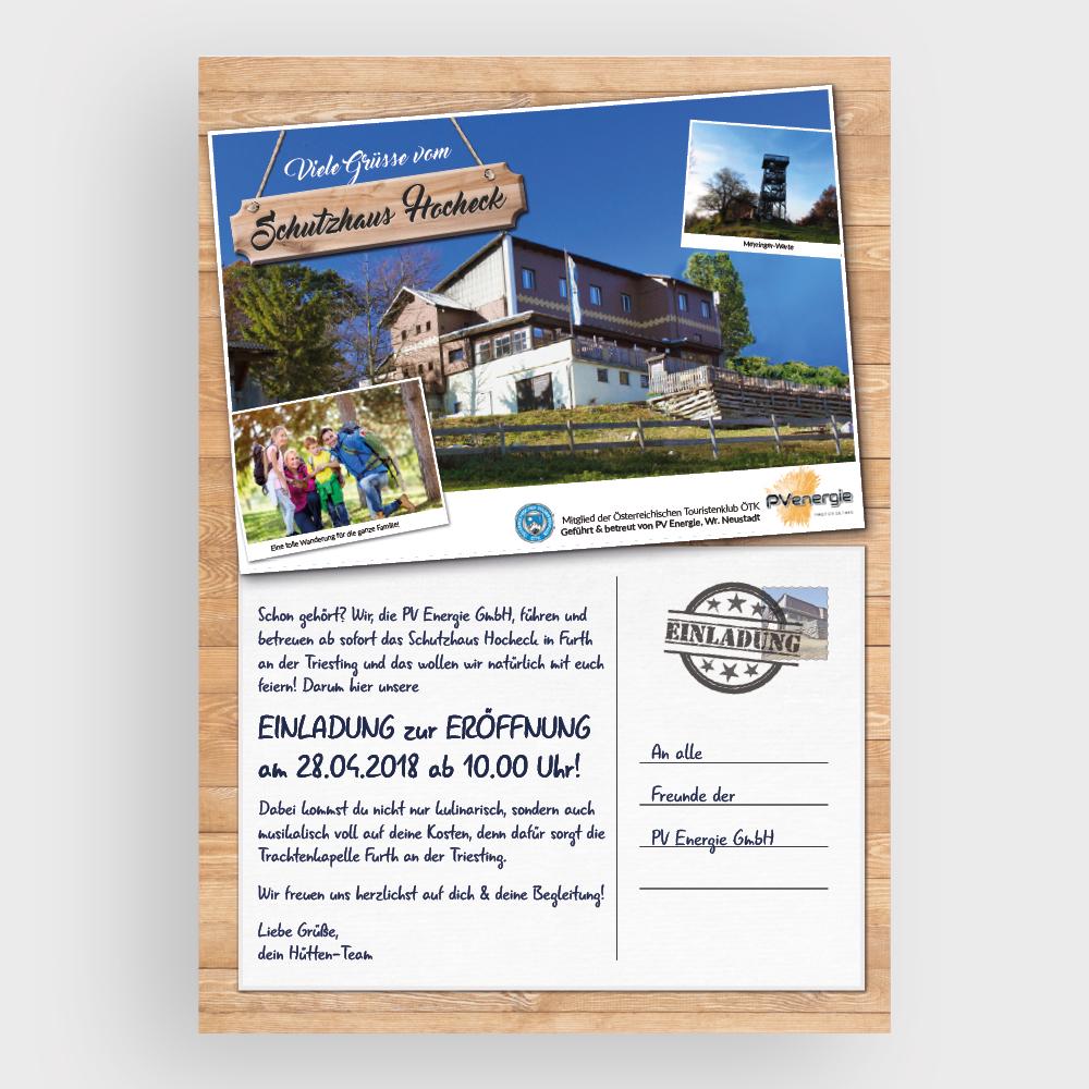 Einladung Eröffnung – Schutzhaus, Hocheck