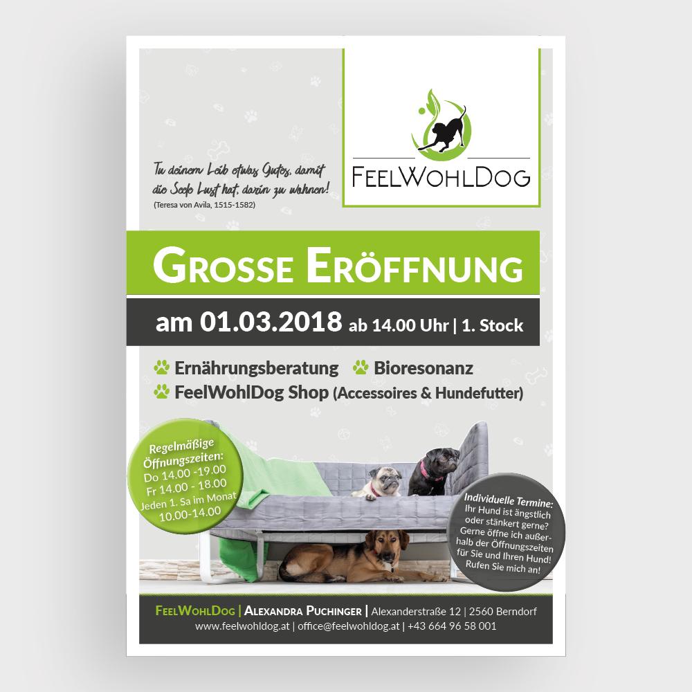 Plakat Eröffnung – Feelwohldog, Berndorf