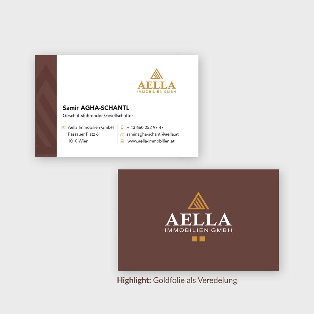 Visitenkarten – Aella Immobilien, Wien